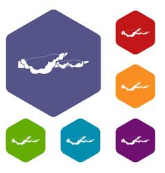 snow icons set hexagon vector image