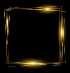 squares gold frame on black background vector image