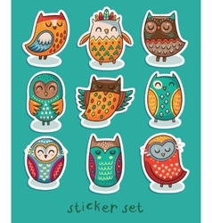 Sticker set of owls vector image