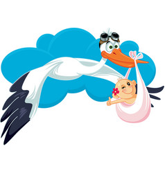 Stork with baby invitation card cartoon vector
