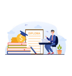Student graduate from institute remote education vector