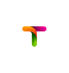 T colorful letter logo icon design vector