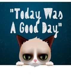 Today was a good day card with cute grumpy cat vector image