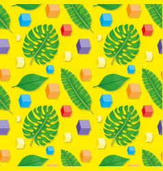 tropical leaves and cubes vector image