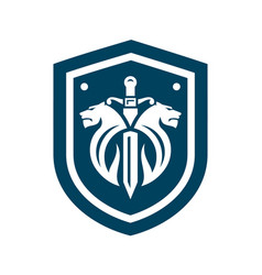 Two lions and sword sign vector