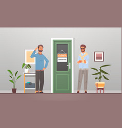 Unhappy businessmen standing in front office vector