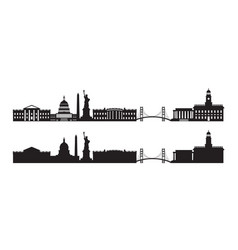 united states america usa skyline silhouette vector image