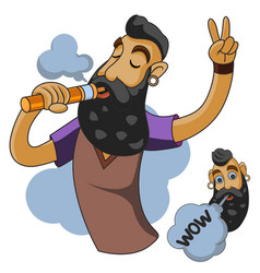 vapor man man with vape and cloud vector image