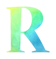 Watercolor blue-green colored alphabet vector image