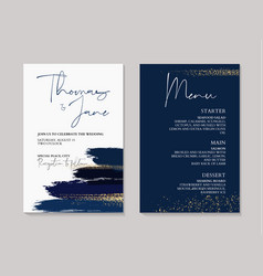 Wedding navy grunge splash invitation cards with vector