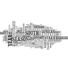 What s in season in south africa text word cloud vector