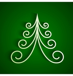 White 3d paper christmas tree vector image