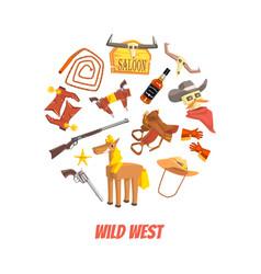 wild west symbols round shape western elements vector image