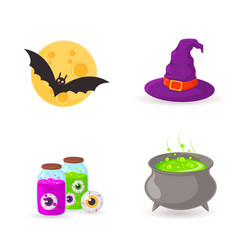 Witch cauldron and symbols vector