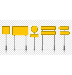 yellow street road sign boards roadsigns alert vector image