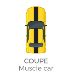 muscle car coupe top view flat icon vector image vector image