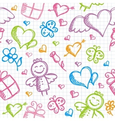 romantic seamless pattern vector image vector image