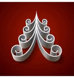Silver 3d christmas tree on red background vector image