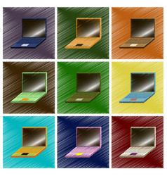 Assembly flat shading style icons laptop notebook vector