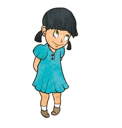 Cute shy cheerful little girl in blue dress vector image vector image