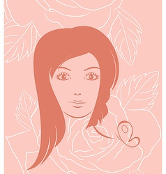 girl face portrait on rose background - vector image vector image