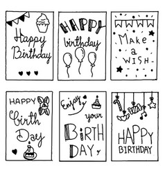 Happy birthday party cards set lettering text vector