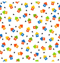 Seamless pattern with houses and hearts Cute vector image