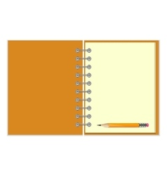 Blank notebook and pencil vector image