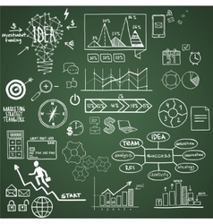 Business finance elements and icons doodle hand vector image