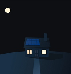 Cartoon solar powered house at night vector image vector image