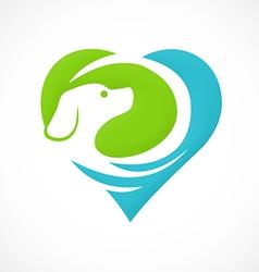 dog pet love abstract logo vector image vector image