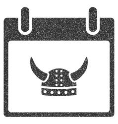 Horned helmet calendar day grainy texture icon vector