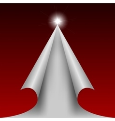 Red design cut paper like a christmas tree vector