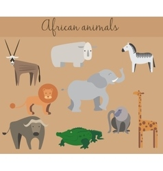 Set of cute cartoon african animals vector image