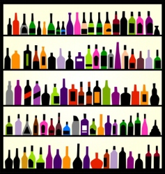 alcohol bottles on the wall vector image vector image