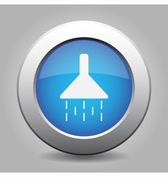 Blue metal button with shower vector