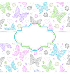 card with floral butterflies vector image