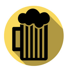 Glass of beer sign flat black icon with vector