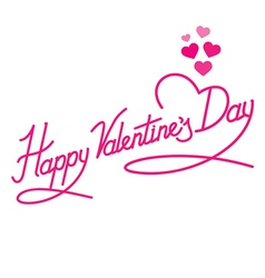 Happy Valentines Day Lettering with hearts vector image