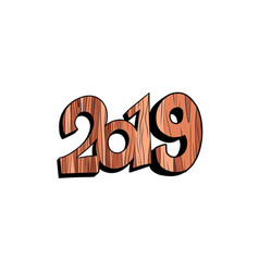 2019 happy new year wooden isolate on white vector image
