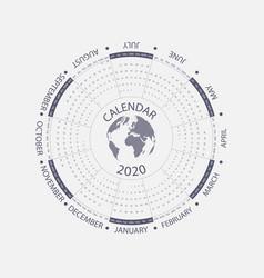 2020 calendar templatecircle calendar vector image