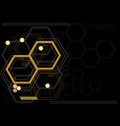 Abstract yellow hexagon digital black vector