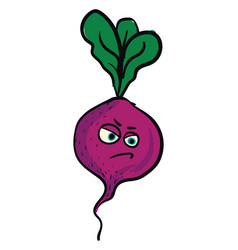 angry purple beet color on white background vector image