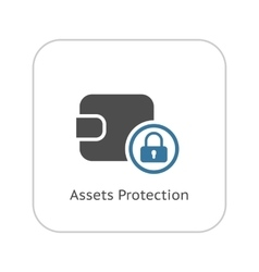 Assets Protection Icon Flat Design vector