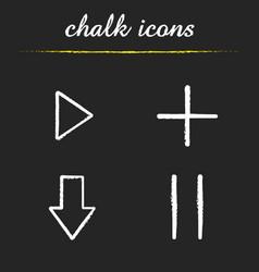 audio player chalk icons set vector image