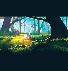 background with mystical forest vector image
