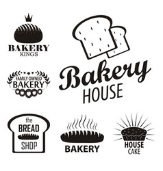bakery logotypes set bakery vintage black and vector image