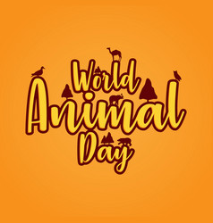 banner world animal day with wild animals vector image