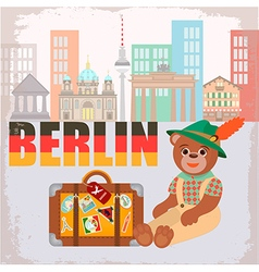 Bear Traveler in Berlin and a suitcase with sticke vector image