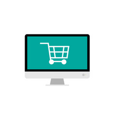 Big monitor and shopping cart for online shopping vector
